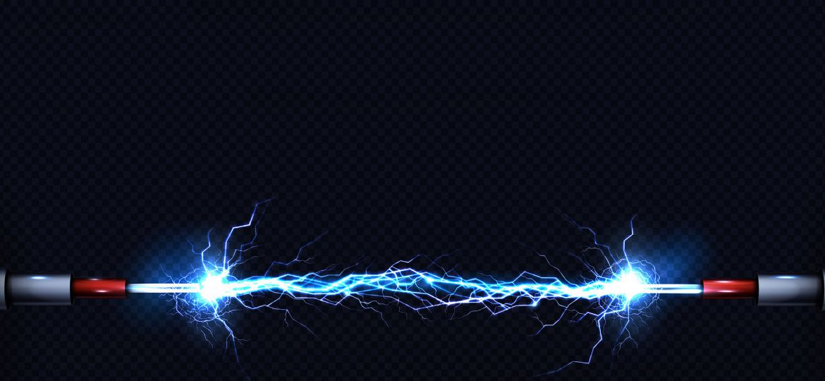 Electrical discharge between power cables vector