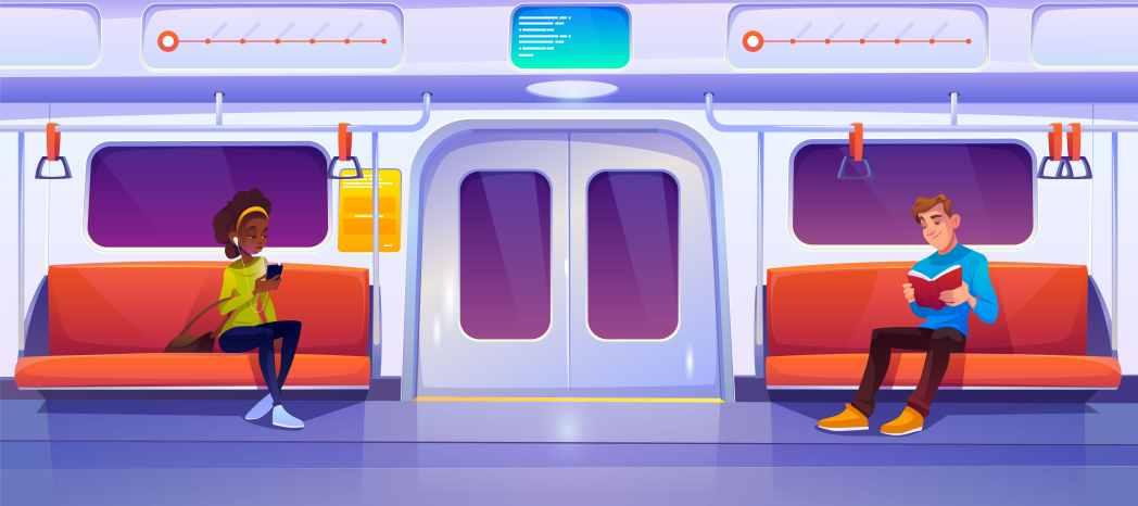 People sitting in subway train car, metro wagon