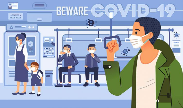 beware to covid 19 vector illustration with people in train as p