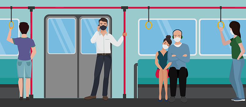 People in subway train using during quarantine corona virus pandemic flat vector illustration. Prevent corona virus disease COVID-19 spread. Influenza, air pollution. Passengers in bus, tram.