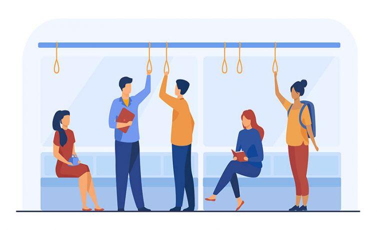 Passengers in metro wagon flat vector illustration
