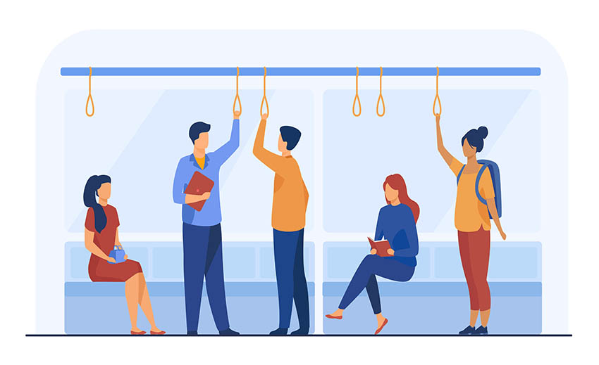 Passengers in metro wagon flat vector illustration