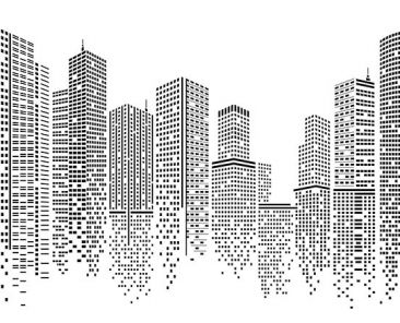 City vector, Building in the night City, skyline Perspective. Architecture vector
